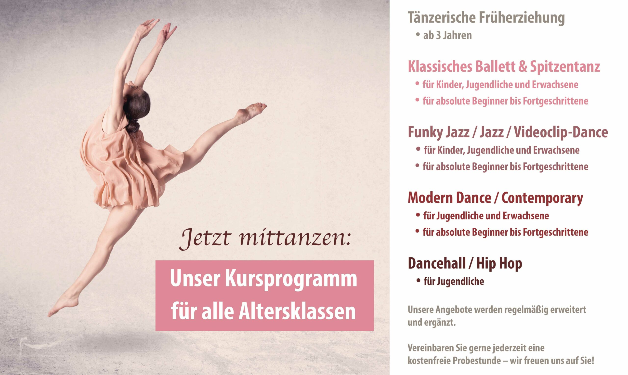 Unser Kursprogramm von Ballett bis Dancehall